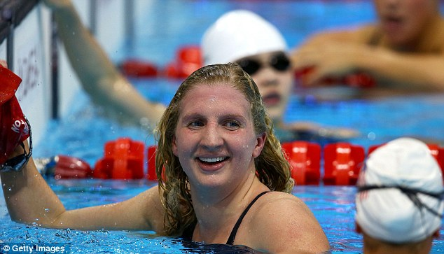 Uneasy smile: Rebecca Adlington qualified eighth fastest for the 400m free final