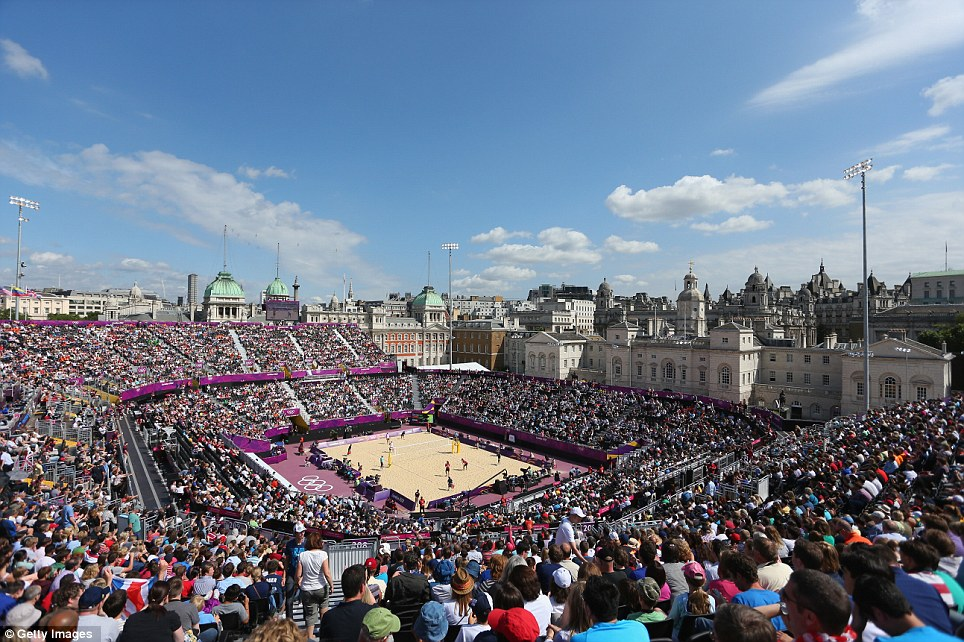 Thousands of people attended the volleyball at Horse Guards Parade during the London 2012 Olympics
