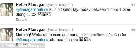 Helen tweeted her support for her sister's Open Day earlier and revealed the whole family had gotten involved