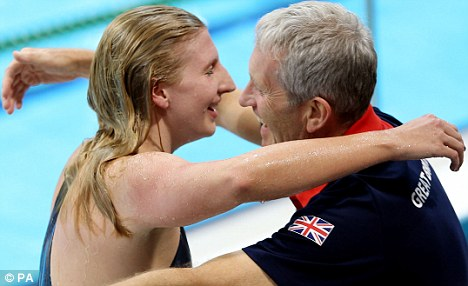 Pride of a nation: 23-year-old swimmer Rebecca Adlington brought home a bronze medal in the 400m freestyle, to the delight of her coach
