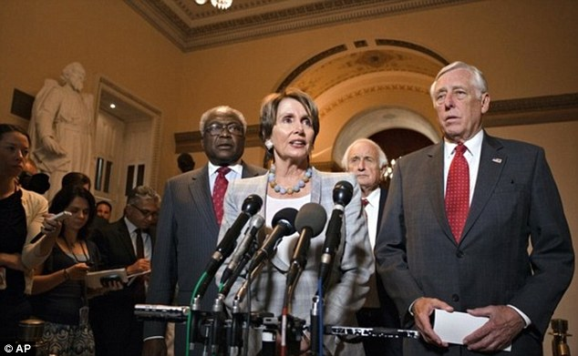 Upset: Democrats, House Minority Leader Nancy Pelosi pictured center, voiced concern that the cuts will instead maintain upcoming cuts to the budget including to the U.S. military