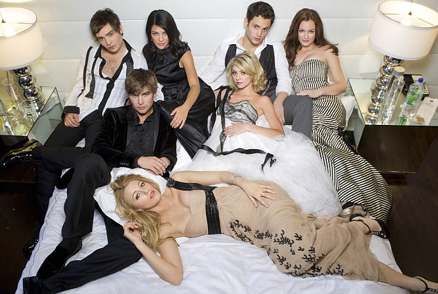 Cancelled: The original cast of Gossip Girl (L-R) Ed Westwick as Chuck, Chace Crawford as Nate, Blake Lively as Serena, Jessica Szohr as Vanessa, Taylor Momsen as Jenny, Penn Badgley as Dan, and Leighton Meester as Blair.