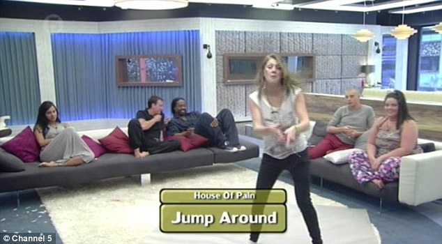 Lightening the mood: The housemates all had to take part in a game of musical charades as the others had to guess what songs they were dancing to