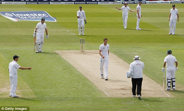 Heated discussion: Strauss and Finn argue the toss with umpire Davis after a no ball denied England a wicket