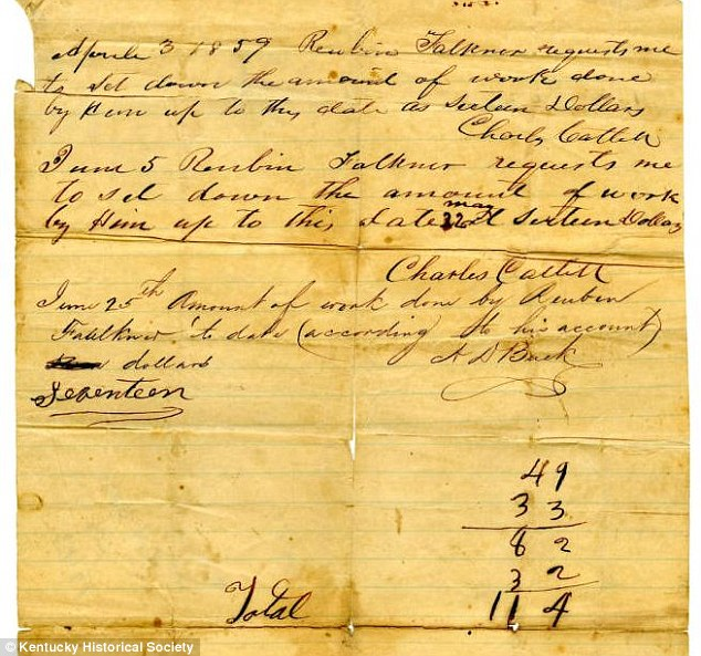 Owed: Another document shows the work account for Reuben Faulkner between April 3 and June 25 1859