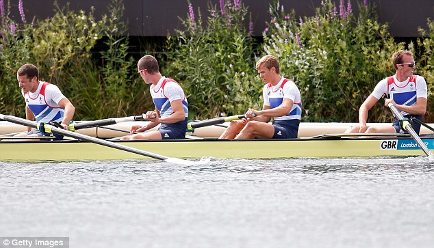 The British four of Chris Bartley, Richard Chambers, Rob Williams and Peter Chambers react after coming seconds in the men's lightweight four final