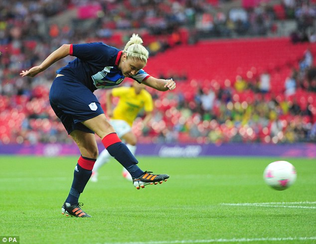 What a win: Stephanie Houghton scores Britain's winner against Brazil at Wembley