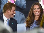 All smiles: Prince Harry shares a joke with his brother's wife, the Duchess of Cambridge