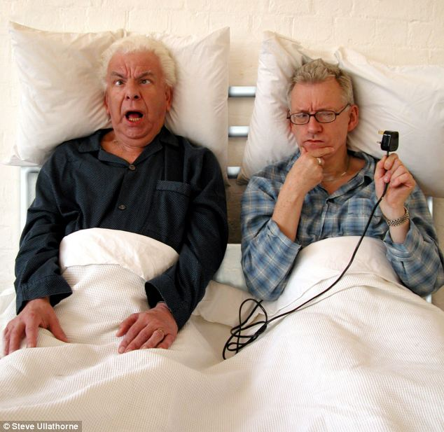 Comedy couple: Barry Cryer, left, with Ronnie Golden, right, in a scene from their comedy production 'Men in Beige'