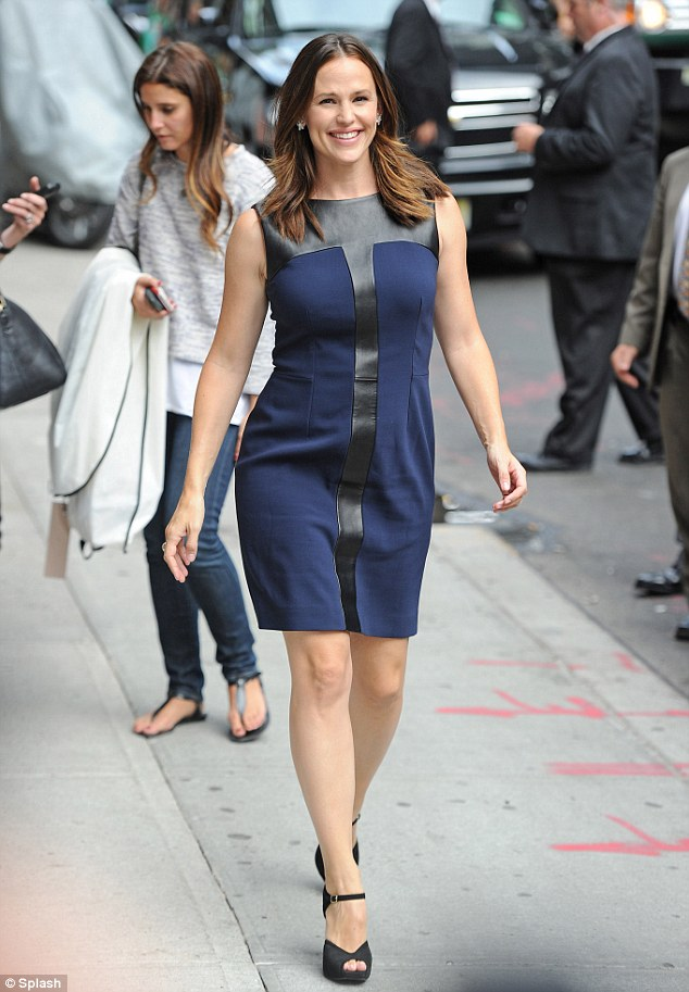 Outfit FOUR: Hard-working Jennifer Garner at the Late Show With David Letterman tonight