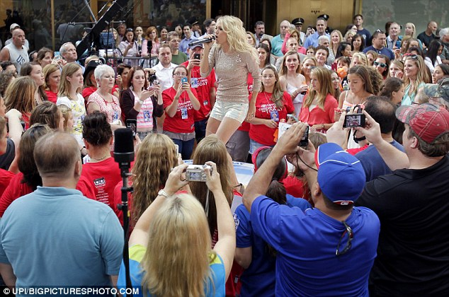 Crowd pleaser: Carrie is currently promoting her single Blown Away, the second track to be released from her same-titled album