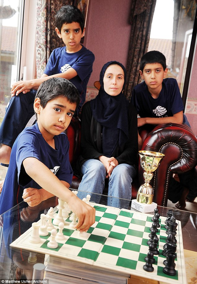 Claims: Ieysaa bin-Suhayl (left), his brother Ibraheem (second from left), mother Tomasina Contu (second from right) and other brother Yousuf were allegedly abused during a chess tournament