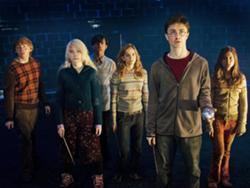 Ron,  Luna,  Neville,  Harry,  Hermione and Ginny.