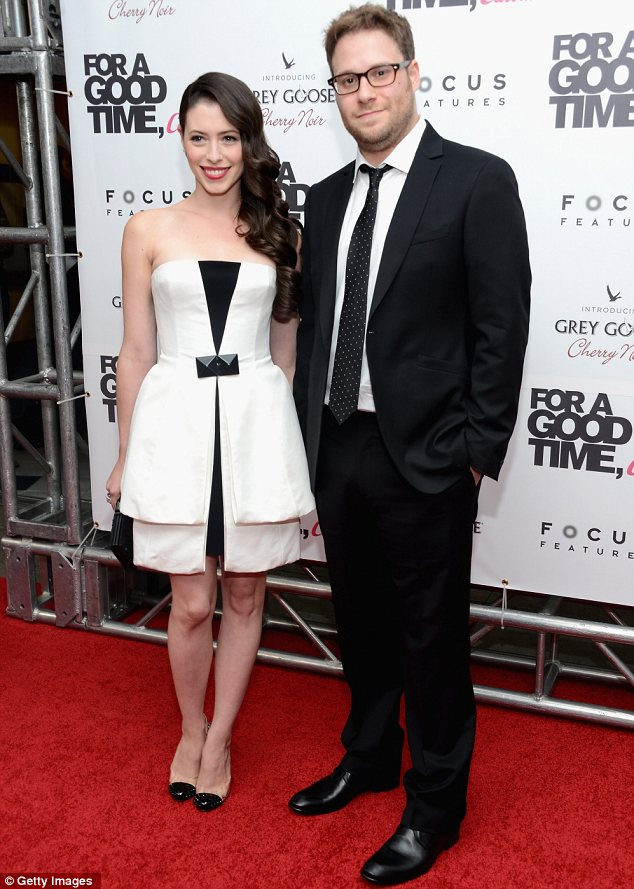 Happy couple: Lauren also took the time to cuddle up with her famous husband Seth Rogen