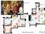 Floorplan: The floorplan details the neighbouring apartments where the Friends characters, pictured, built their close bond