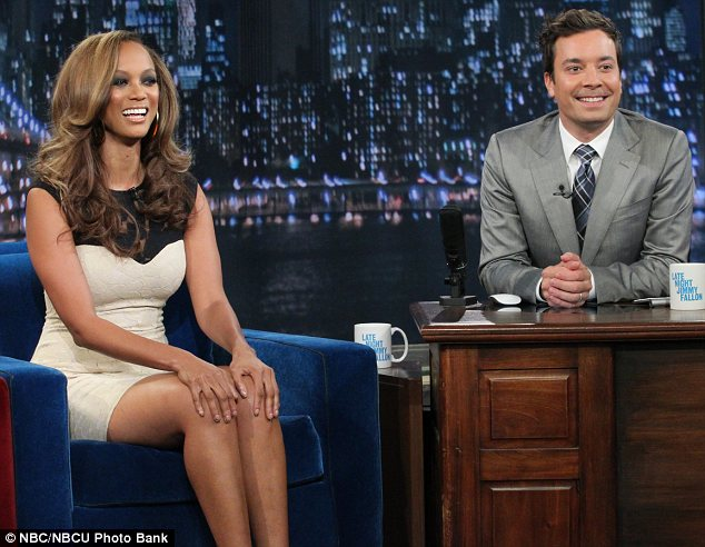 Firm friends: Tyra shared lots of laughs with Jimmy as she promoted the 19th season of her modelling show