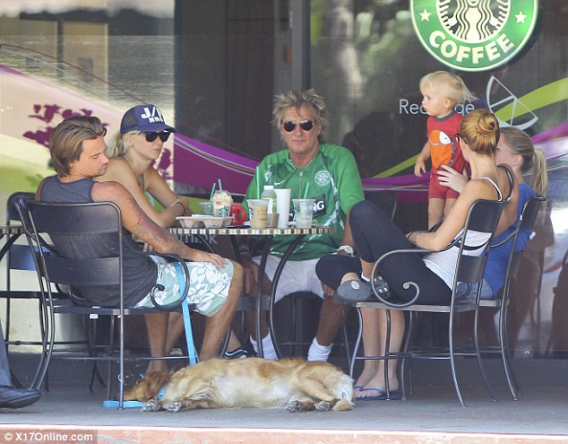 All together: Rod Stewart is often seen in Los Angeles visiting his various family members