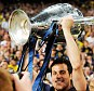 The big one: Julio Cesar got his hands on the Champions League trophy in 2010