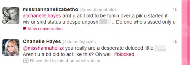 The picture which launched the fight: Chanelle and Hannah's tweets