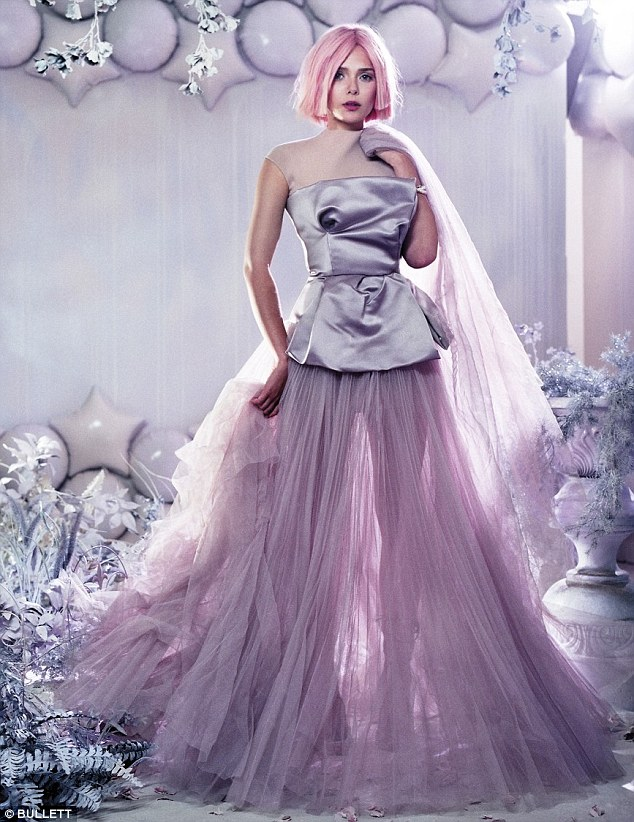 Pink and lilac: Elizabeth Olsen slips on a candy floss bobbed wig and girly couture in a winter wonderland themed shoot for edgy fashion magazine Bullett
