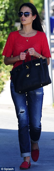 Nice Birkin: The Fast and the Furious star wore a summery red top with scalloped hemlines over cuffed blue jeans, and red loafers