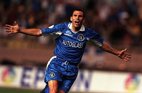 Take off! Gustavo Poyet celebrates scoring the winners against Real Madrid in the 1998 Super Cup