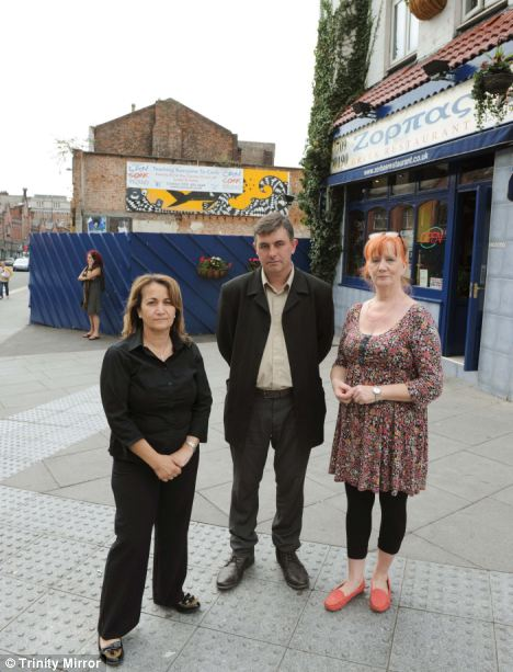 Ben Scott, centre, from a nearby hairdressers, Louisa Michael, left, from a local restaurant, and Pauline Keady-Williams, right, from the local pub, are against the council plans