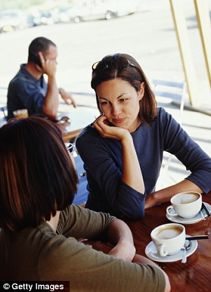 Tea and sympathy: Sharon felt she'd wasted her time listening to her friend complain about her cheating husband as she then went back to him (posed by models)
