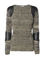 'Textured knit? Tick. Leather-look panels? Tick. This jumper has it all' Jumper, £38, River Island, tel: 0844 576 6444