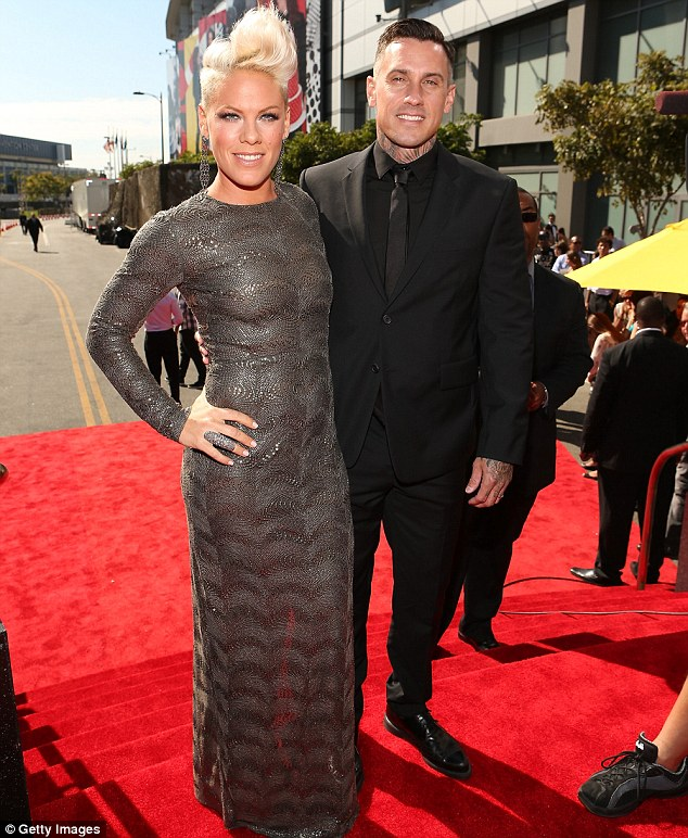 Date night: Pink arrived for the event at the Los Angeles' Staples Center with husband Carey Hart