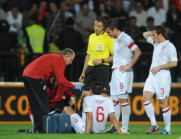 Blow: Terry is now a doubt for England's World Cup qualifier against Ukraine at Wembley