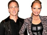 On fine form! Kristin Chenoweth is lovely in leather as she joins Ryan Lochte at New York Fashion Week