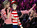Where's Taylor! The singer wore a Where's Waldo inspired striped ensemble onstage