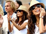 Barely time to get the seat warm! Eva Longoria and mystery man watch Serena Williams romp into US Open final