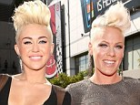 Battle of the barnets! Miley Cyrus, 19, and Pink, 32, look like twins with their matching blonde mohawks at the MTV VMAs