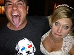 Wedding crasher? An uneasy bride reacts to a man giving her a good squeeze as he stretches his tongue out before the camera