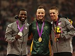 Victors: Silver medallist Blake Leeper of the United States, Pistorius, and bronze medallist David Prince, also American