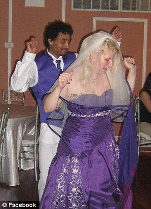 Eric Harris, poses with drug paraphernalia (left) while he and his wife Emeline Vernillet dance on their wedding day