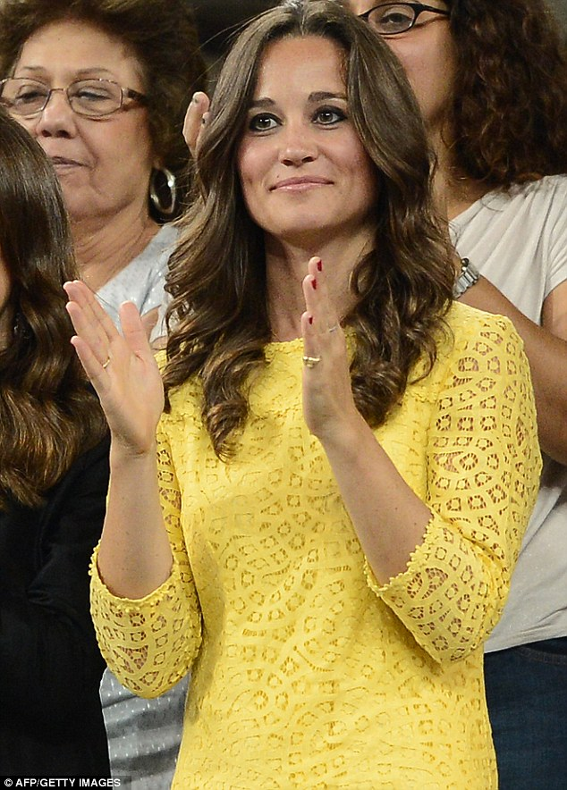 Birthday girl: Pippa wore the dress as she cheered Andy Murray to victory in Wednesday's quarter final which fell on her 29th birthday