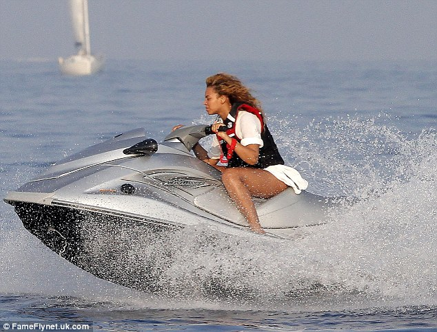 Fearless: Beyonce enjoyed a jet ski ride while holidaying in the South of France yesterday