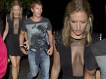 That's one way to grab attention! James Blunt's girlfriend dons plunging dress with sheer paneling for VMA after-party