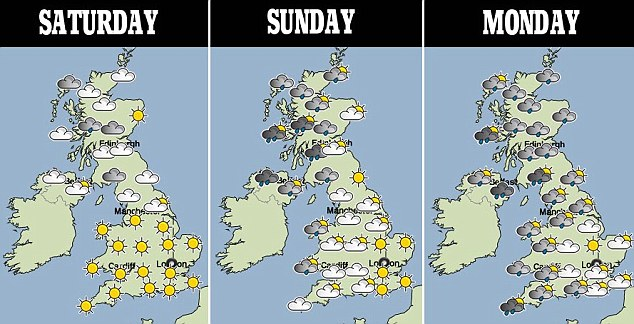 Hot and cold: The south of England will experience the best weather this weekend, although northern parts should also do well on Saturday - while much of the country will experience showers by Monday