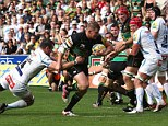 Running through: Dylan Hartley breaks clear to score a try