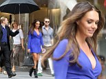 'This rain is not ideal for my hair': A coiffed Tamara Ecclestone left frustrated by New York weather