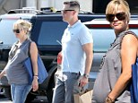 Not long to go! A VERY pregnant Reese Witherspoon steps out for lunch with husband Jim Toth