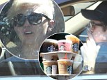 Recovery Sunday? Miley Cyrus and Liam Hemsworth load up on Starbucks drinks as he puffs away on a cigarette
