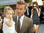 Mummy's little fashionista: David Beckham brings little Harper to support Victoria's show at New York Fashion Week
