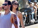 Hot wheels! Hunky Jesse takes his Daisy Duke-clad fiancée for a spin on his motorbike