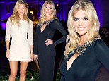 Battle of the supermodels! Bar Rafaeli is all legs in white lace, while buxom Kate Upton parades her assets in a low-cut black gown