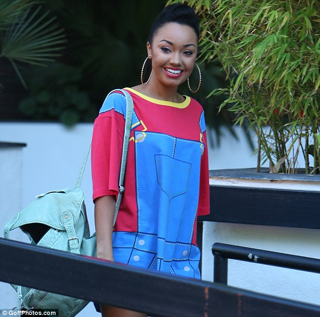 Not your usual style inspiration! Little Mix singer Leigh-Anne Pinnock wore a printed dungarees dress as she arrived at the ITV studios for an interview on Loose Women today (Friday)